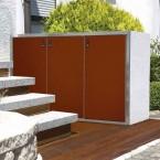 Paul Wolff Mülltonnenbox SILENT 123 Stein-Außenfläche: Eisgrau Stahl: Cognacbraun
