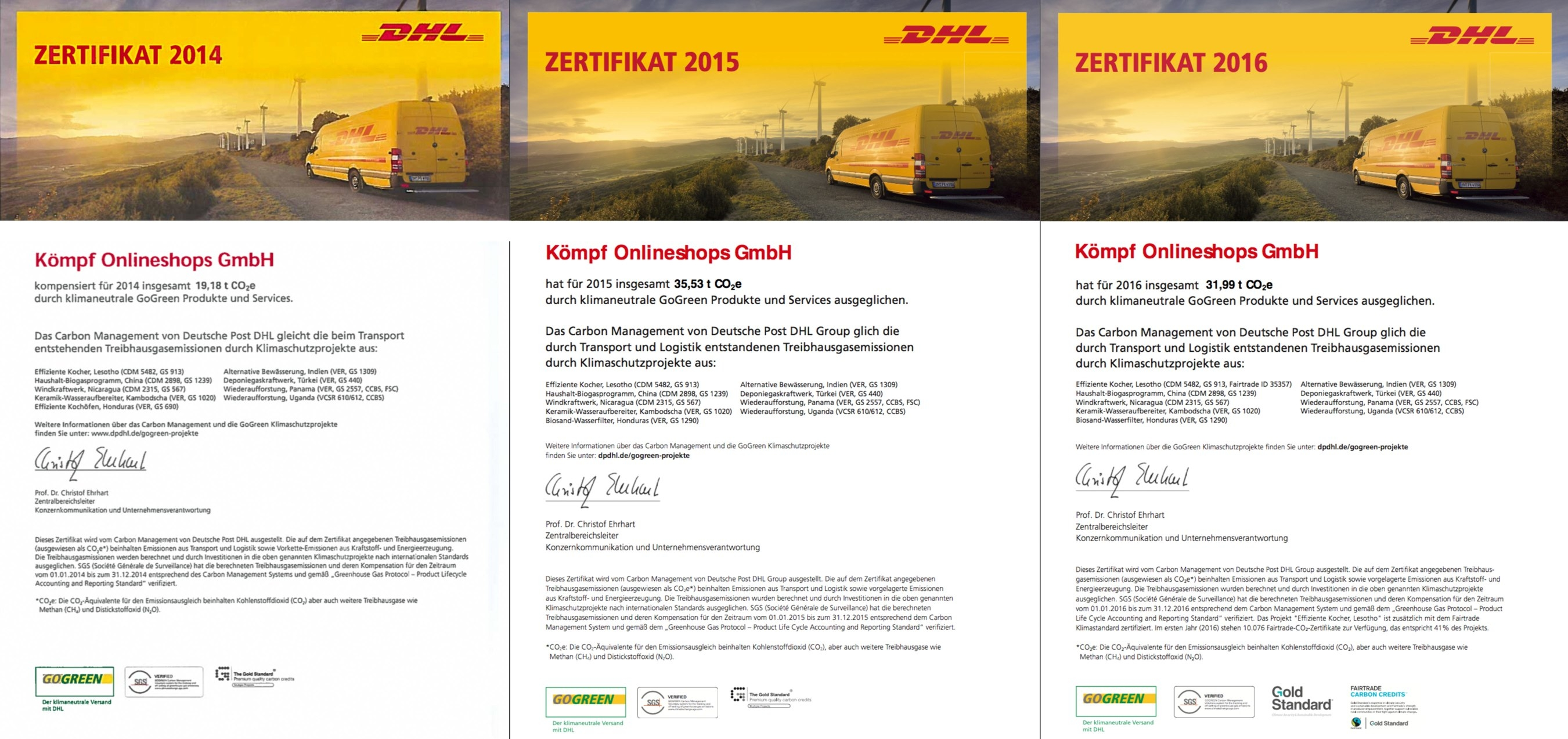 Unsere DHL GoGreen Zertifikate