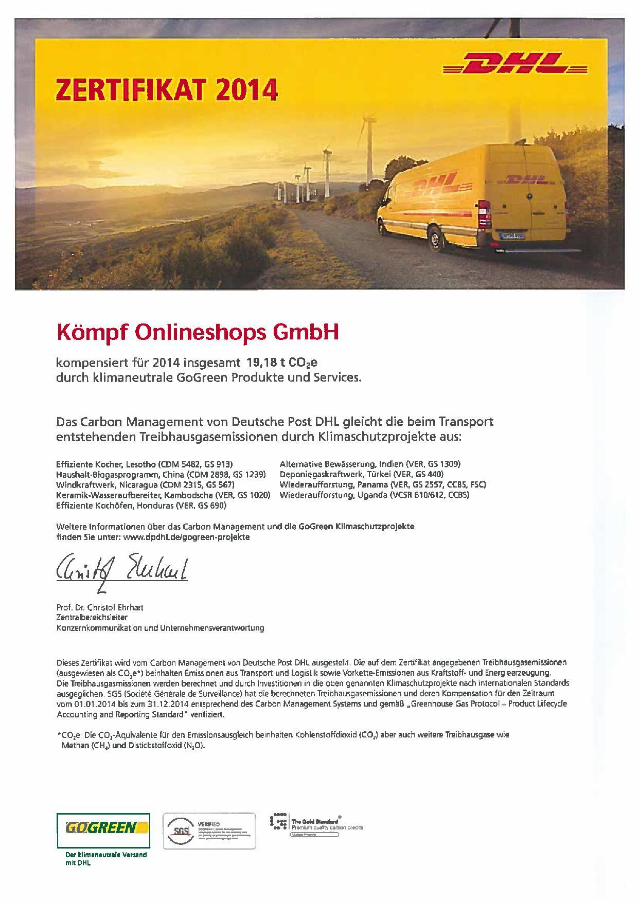 DHL GoGreen Zertifikat
