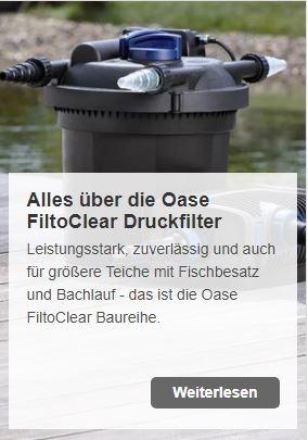Oase FiltoClear-Druckfilter - jetzt spielend leicht den Traumteich realisieren | www.oase-teichbau.de