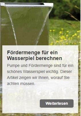 Wie berechne ich die benötigte Fördermenge für ein Wasserspiel? | www.oase.teichbau.de