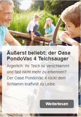 PondoVac 4 - der leistungsstarke Oase Teichschlammsauger | www.oase.teichbau.de