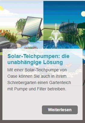 Umweltfreundliche Energie für den Gartenteich - mit einer solarbetriebenen Teichpumpe | www.oase.teichbau.de