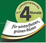 Vier Monate Langzeitwirkung für winterfesten, grünen Rasen
