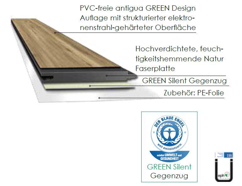 kwg designboden green antigua eiche arktis pvc frei. Black Bedroom Furniture Sets. Home Design Ideas