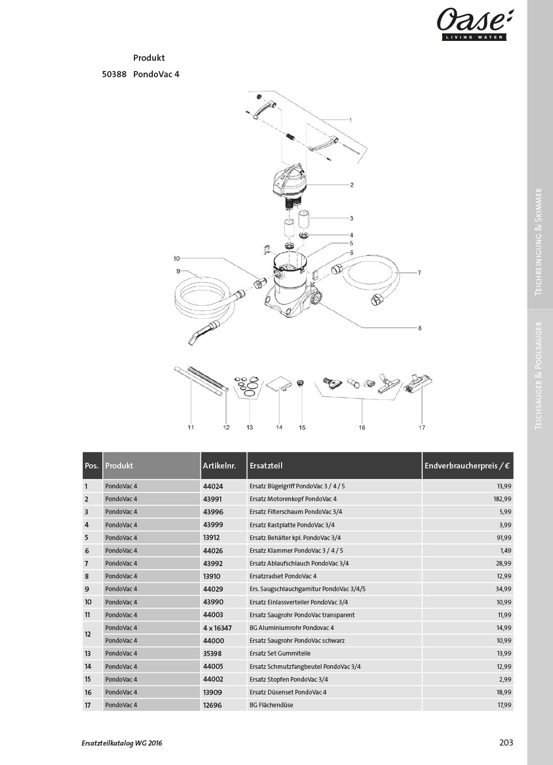 Oase-Ersatzteile für 50388 Oase PondoVac 4