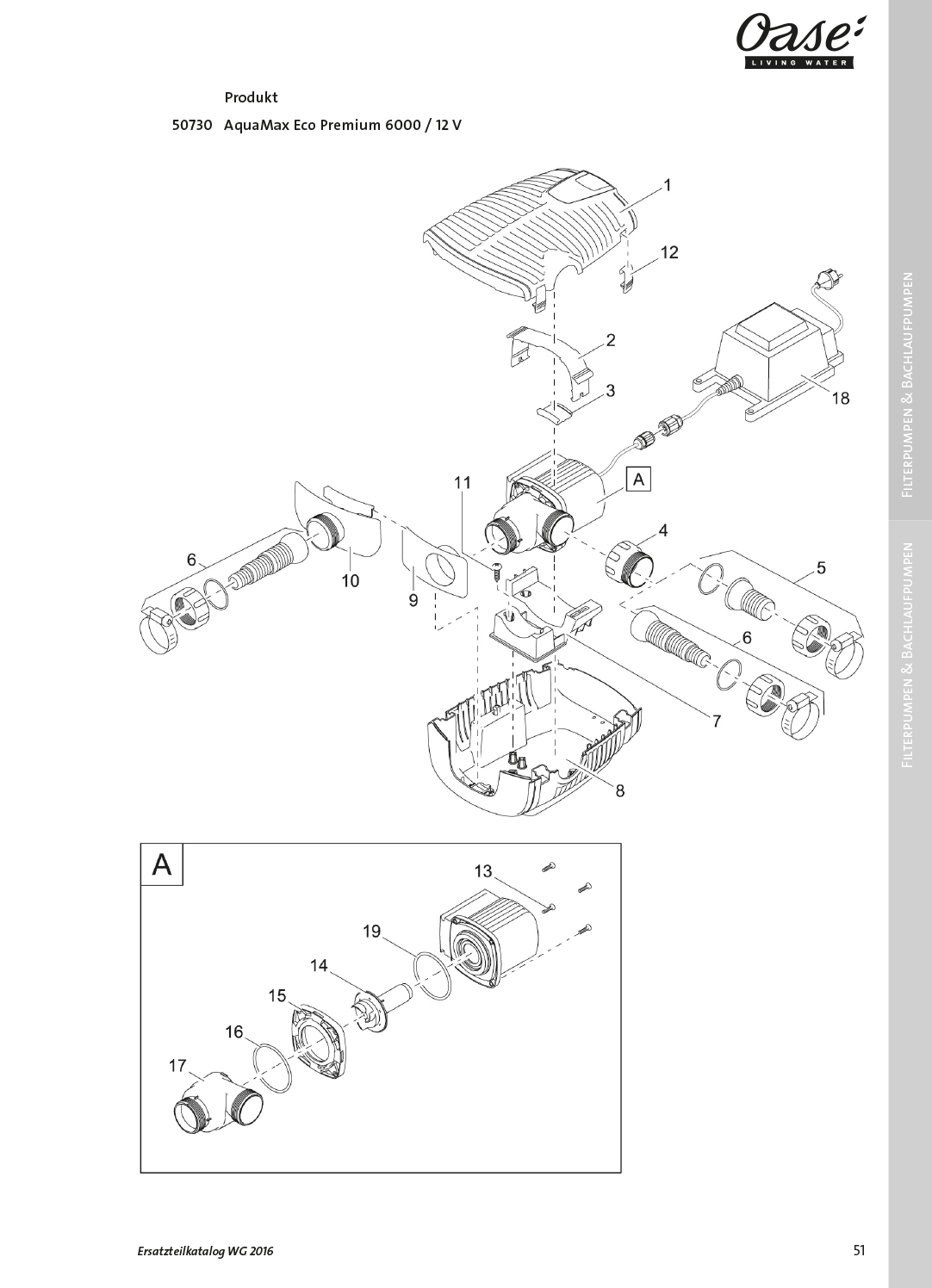 Oase-Ersatzteile für 50730 Oase AquaMax Eco Premium 6000 / 12 V
