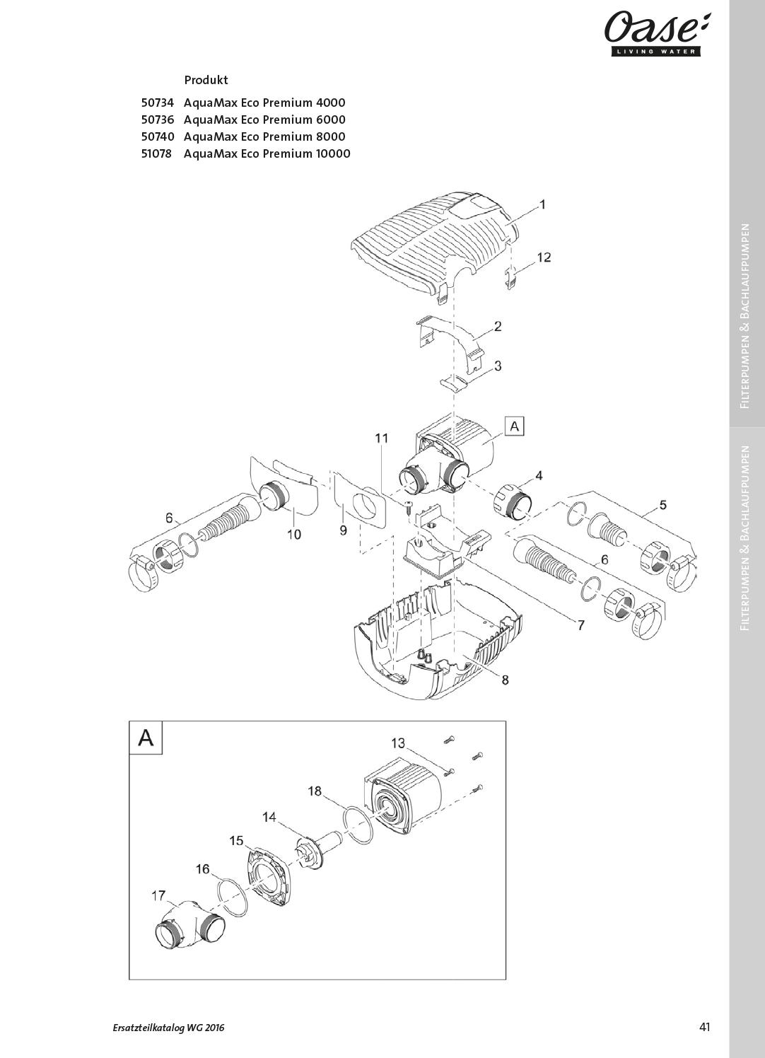 Oase-Ersatzteile für 50736 Oase AquaMax Eco Premium 6000