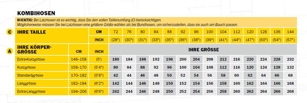 hosen tabelle